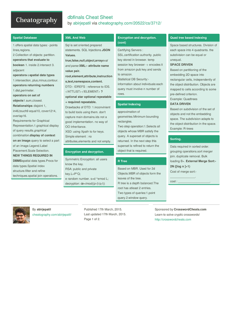dbfinals Cheat Sheet by abirjepatil - Download free from