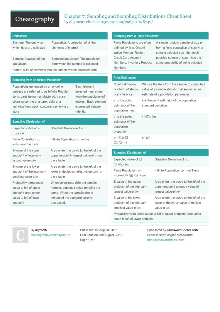 Chapter 7: Sampling and Sampling Distributions Cheat Sheet by ...