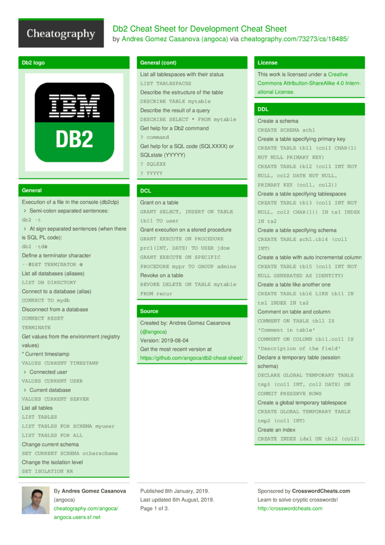 Db2 Cheat Sheet for Development Cheat Sheet by angoca
