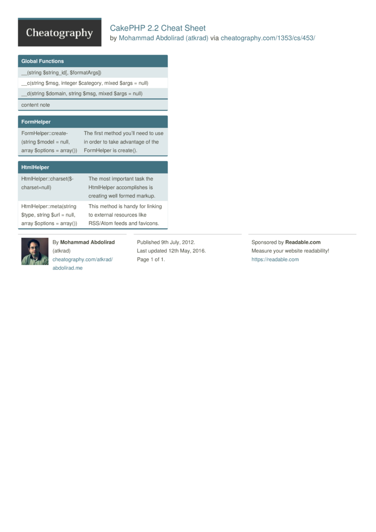 CakePHP 2.2 Cheat Sheet by atkrad - Download free from ...