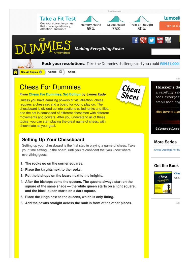 Chess For Dummies Cheat Sheet By Cheatography Download Free From