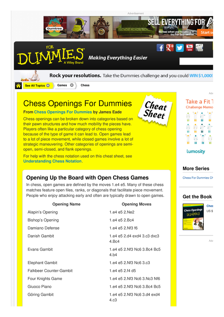 Chess Openings For Dummies Cheat Sheet by Cheatography