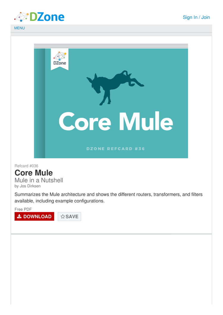 Core Mule Cheat Sheet by Cheatography - Download free from
