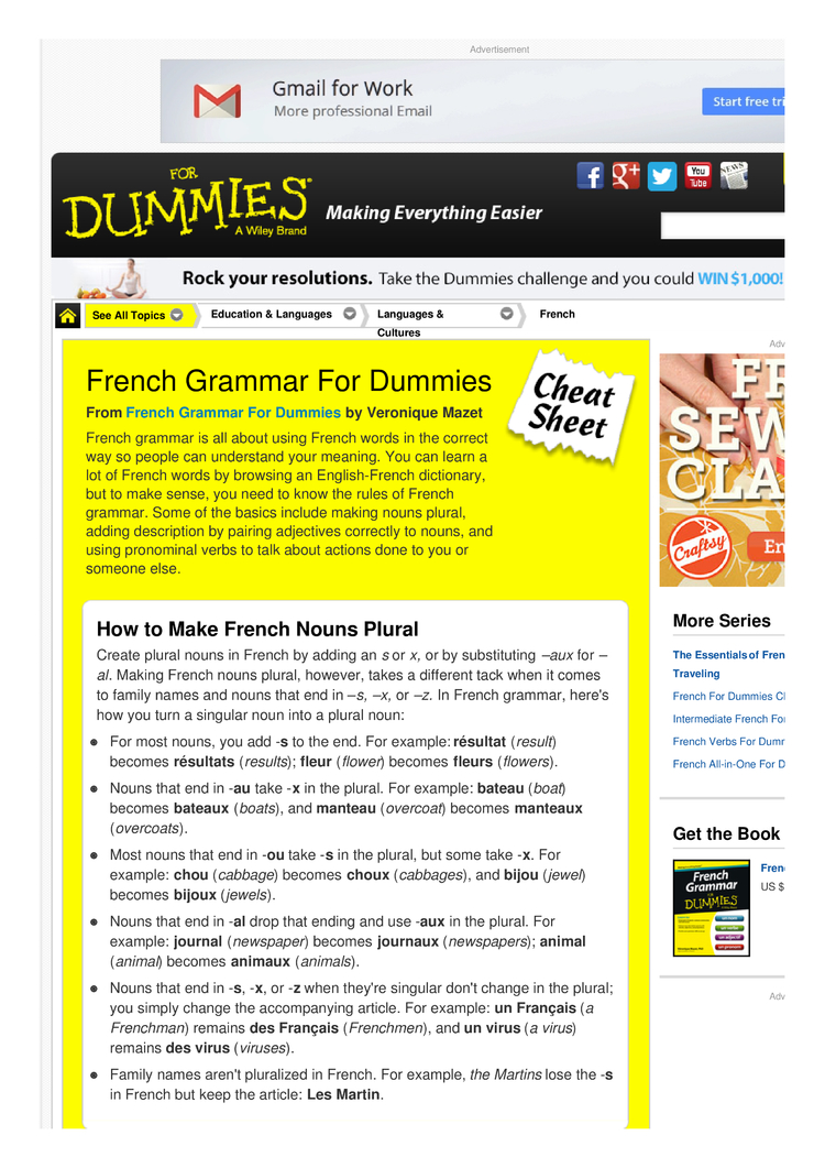 french grammar for dummies pdf