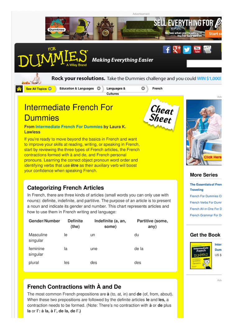 intermediate french for dummies cheat sheet by cheatography intermediate french for dummies cheat sheet by from com cheat sheets for every occasion