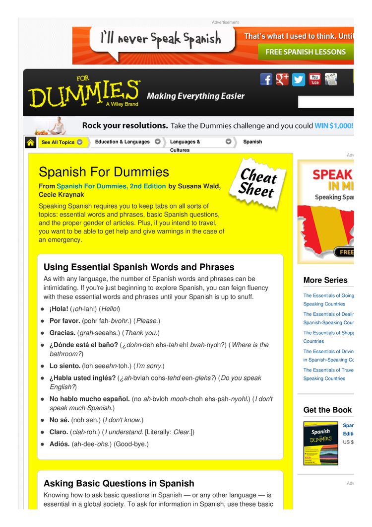 Spanish For Dummies Cheat Sheet By Cheatography Download Free From