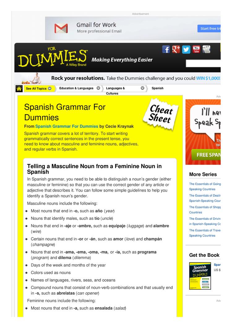 Spanish Grammar For Dummies