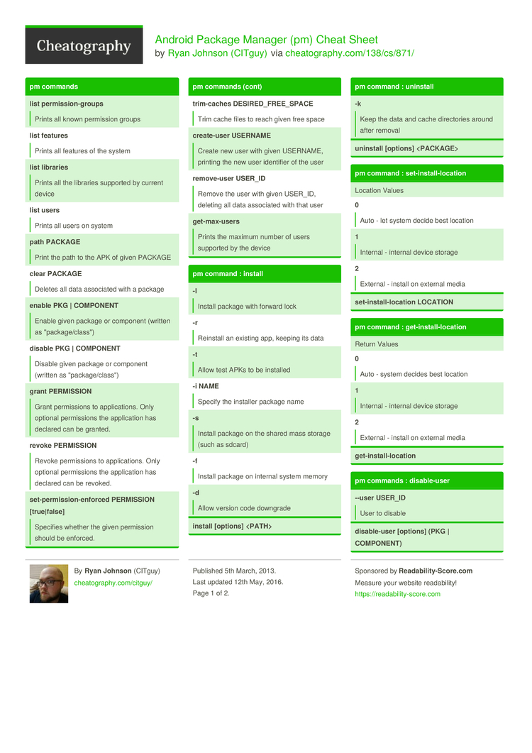 Android Package Manager (pm) Cheat Sheet by CITguy