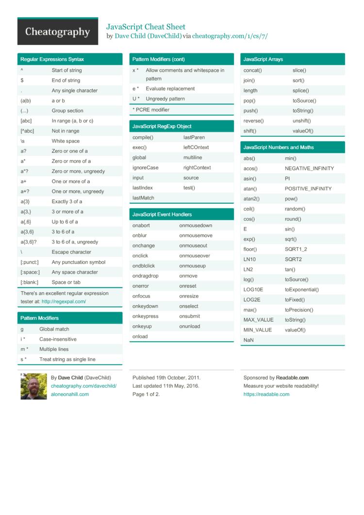 javascript cheat sheet pdf 20