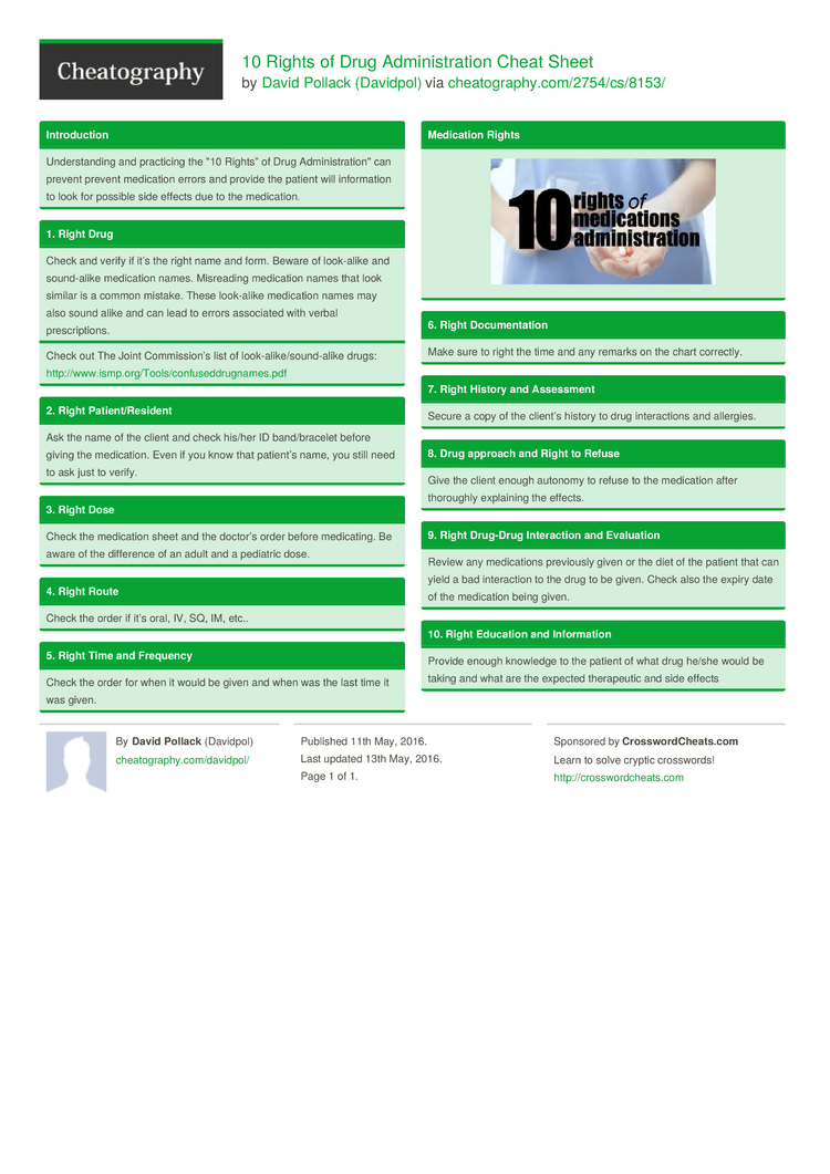 10 rights of drug administration cheat sheet by davidpol