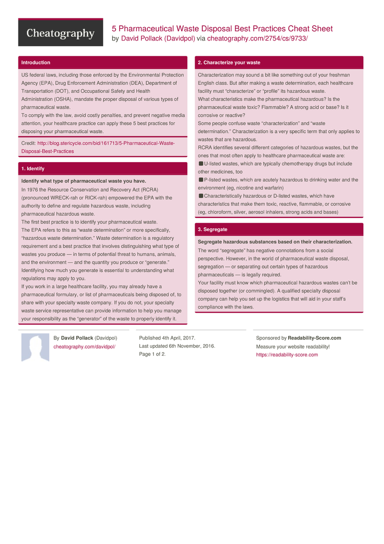 5 pharmaceutical waste disposal best practices cheat sheet for Consul best practices