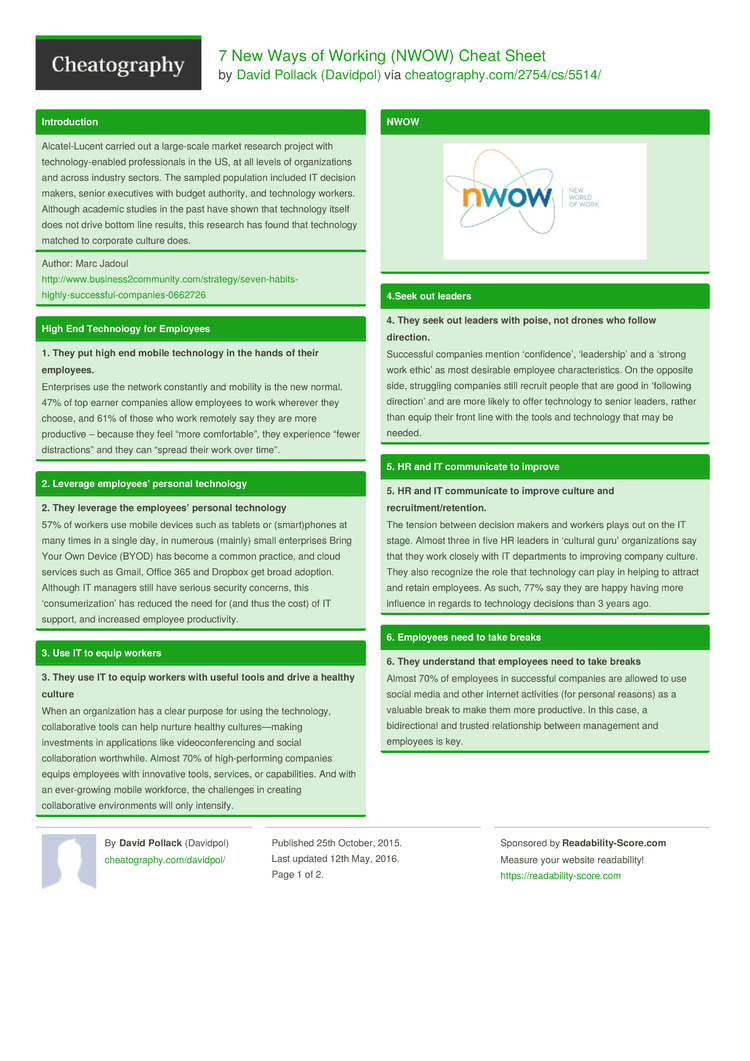 new ways of working nwow cheat sheet by davidpol 2 pages