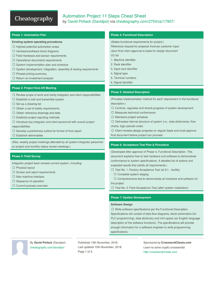Automation Project 11 Steps Cheat Sheet By Davidpol Download Free Physicalblockdiagramjpg 3 Pages