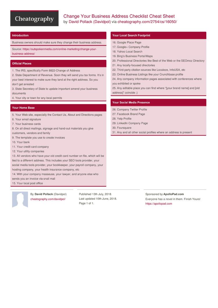 Change Your Business Address Checklist Cheat Sheet by Davidpol ...