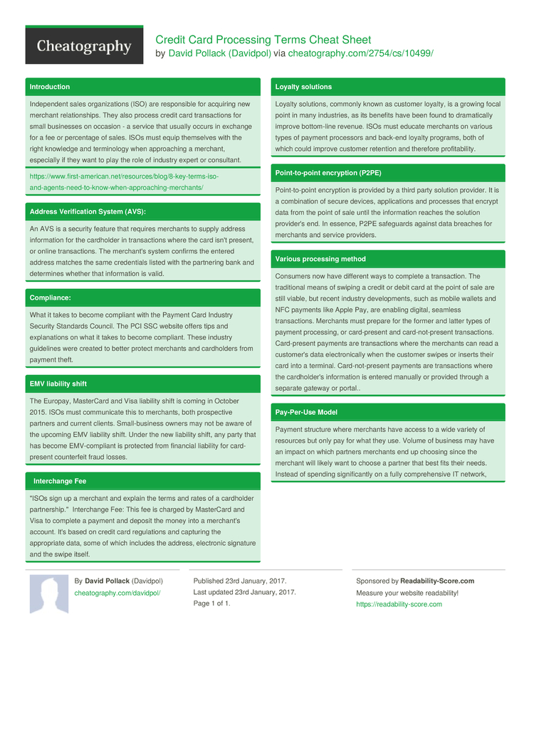 Credit Card Processing Terms Cheat Sheet by Davidpol - Download free ...