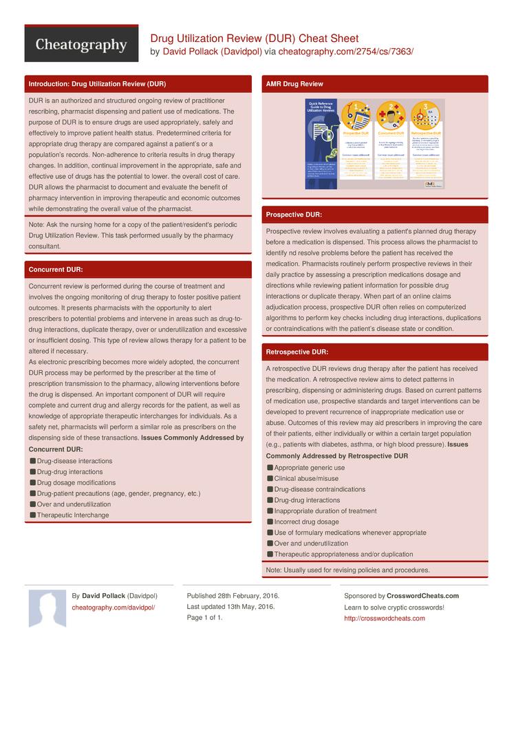Drug Utilization Review Dur Cheat Sheet By Davidpol Download