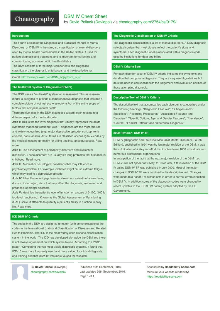 Dsm Iv Tr Criteria For Major Depressive Disorder 1
