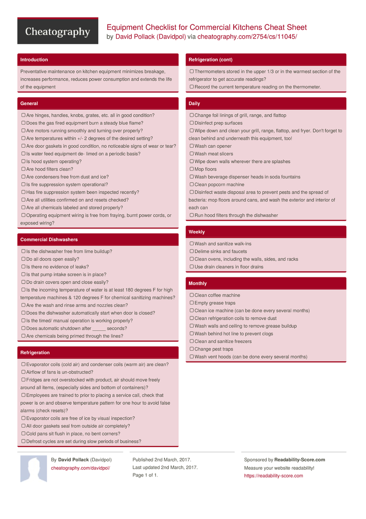 Equipment Checklist For Commercial Kitchens Cheat Sheet By Davidpol Free From Cheatography Sheets Every Occasion