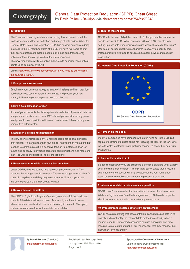 General Data Protection Regulation Gdpr Cheat Sheet By