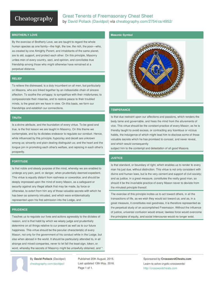 Great Tenents Of Freemasonary Cheat Sheet By Davidpol Download