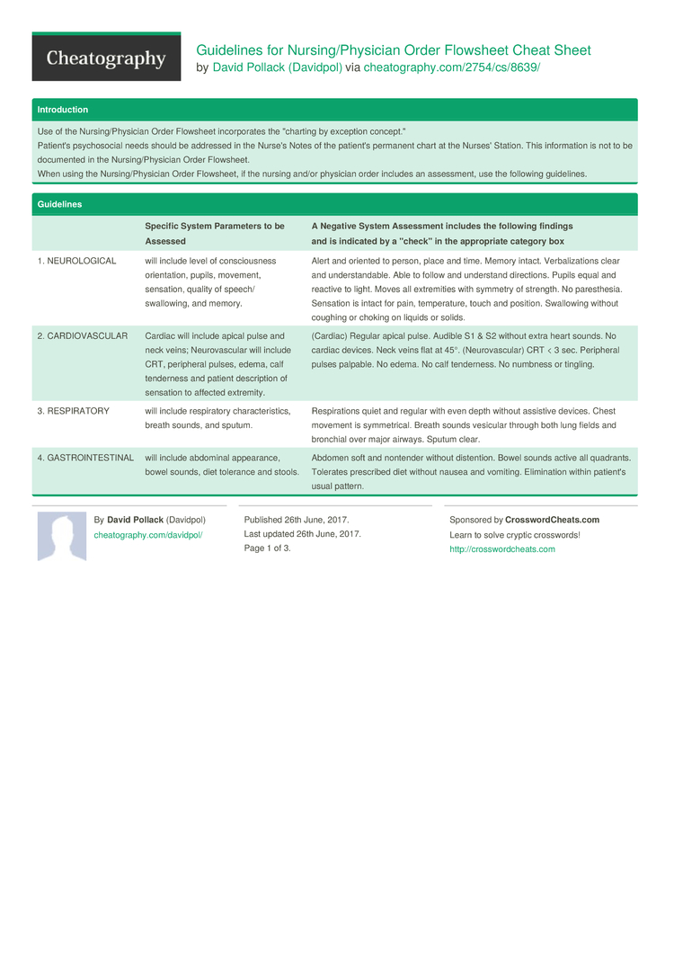 Guidelines For Nursing Physician Order Flowsheet Cheat Sheet By Davidpol