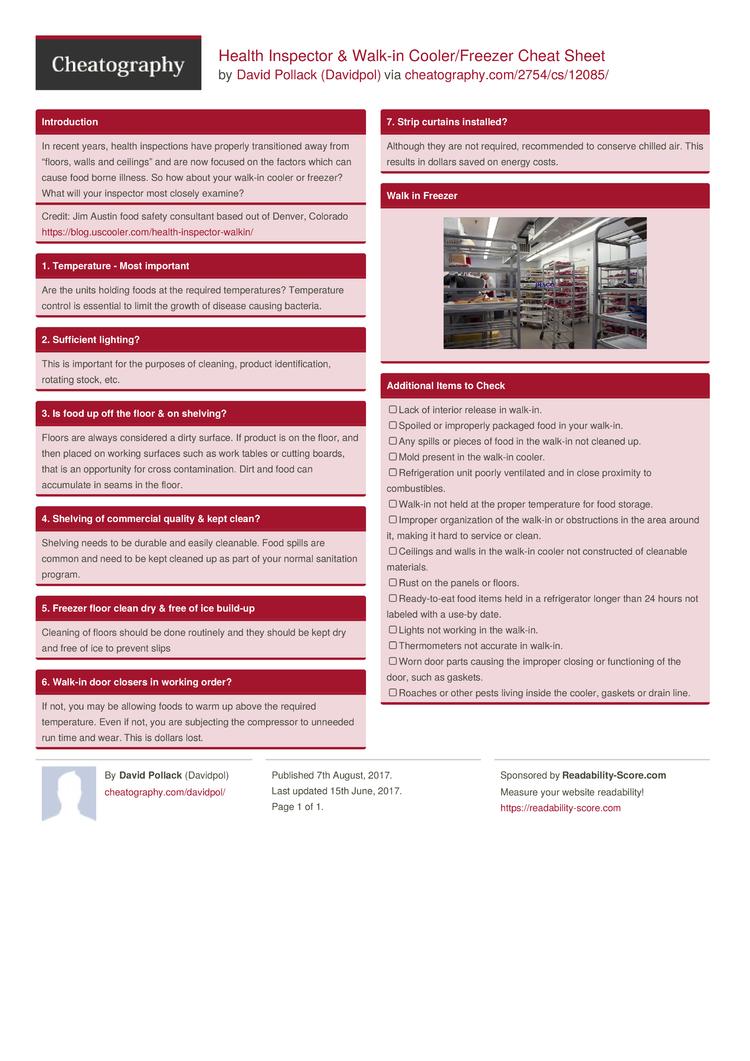 health inspector & walk-in cooler/freezer cheat sheetdavidpol
