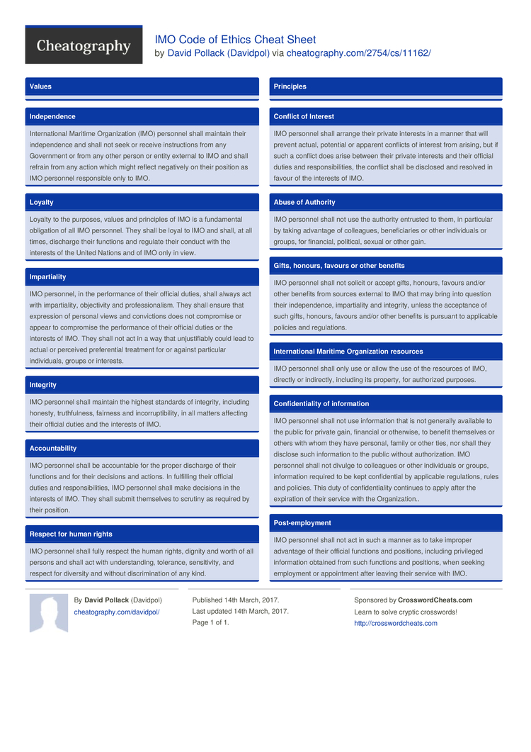 Imo Code Of Ethics Cheat Sheet By Davidpol Download Free From