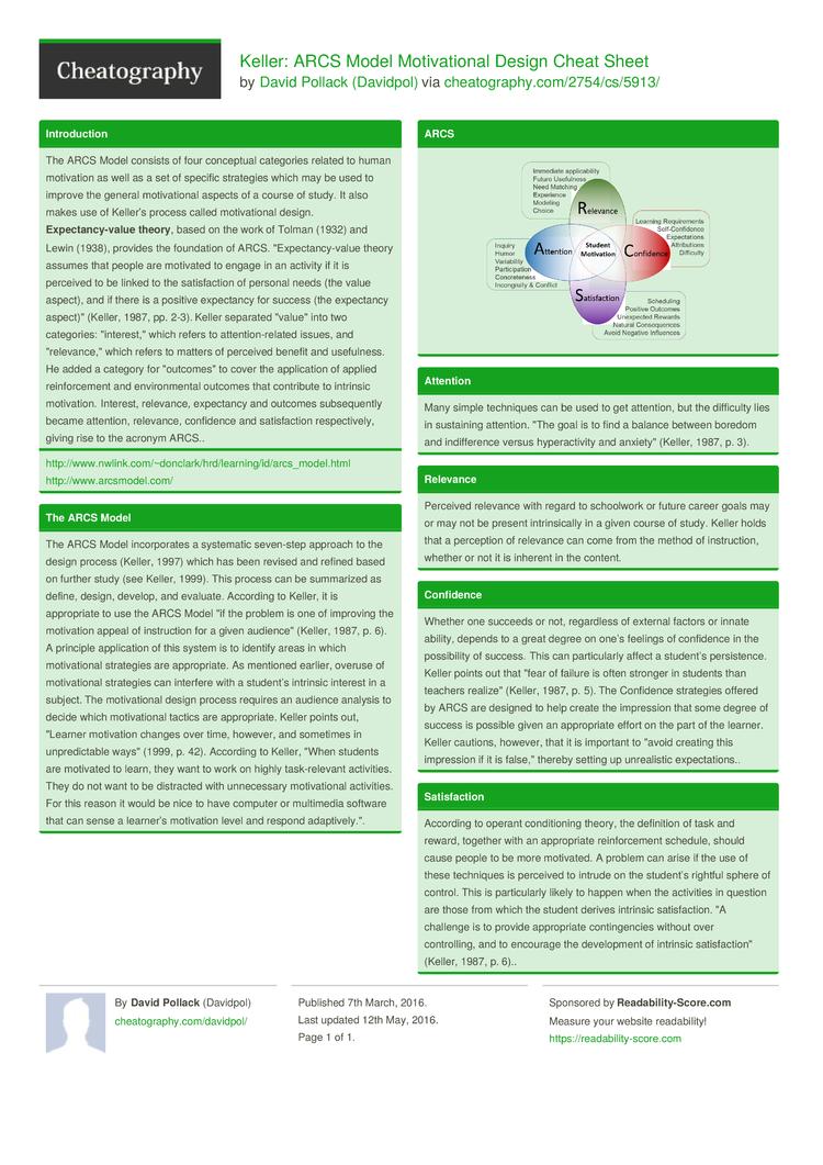 Arcs Model Of Motivational Design Pdf