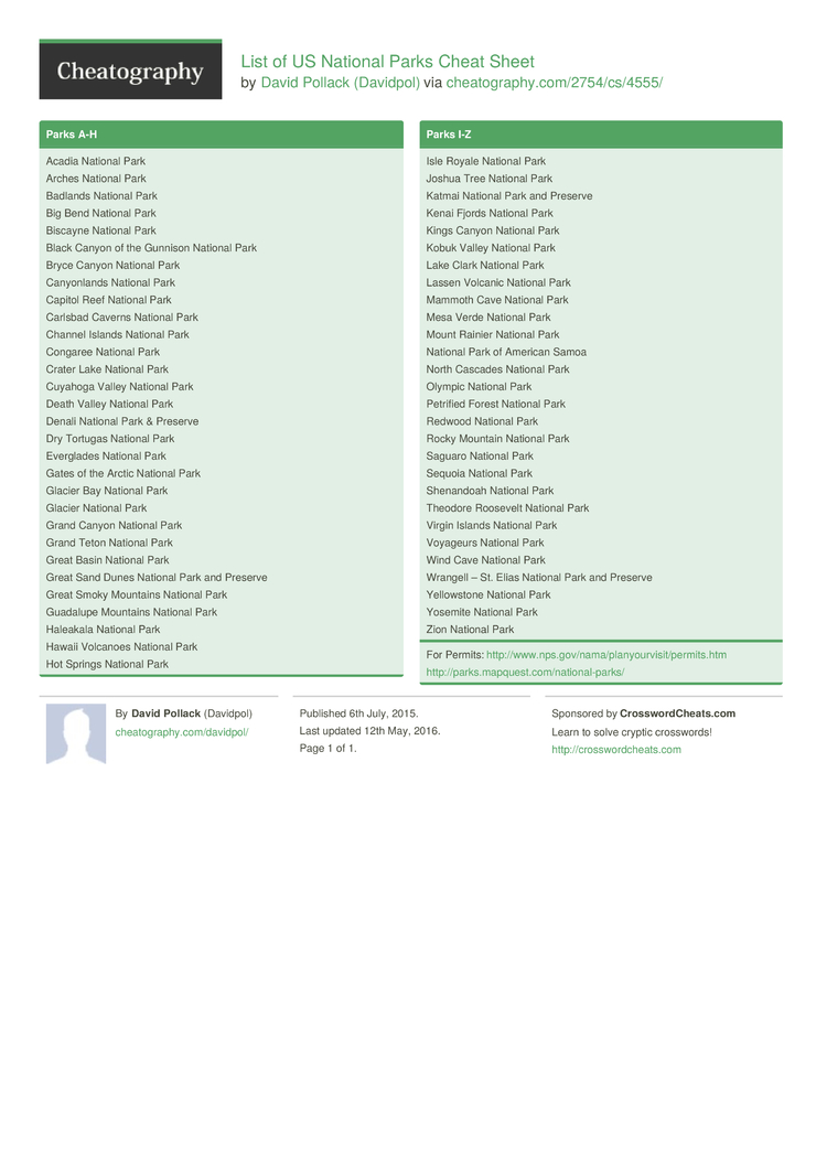 list of us national parks cheat sheet by davidpol - download free