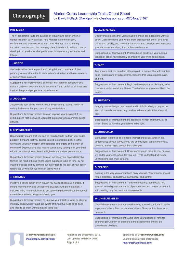 Marine Corps Leadership Traits Cheat Sheet By Davidpol Download