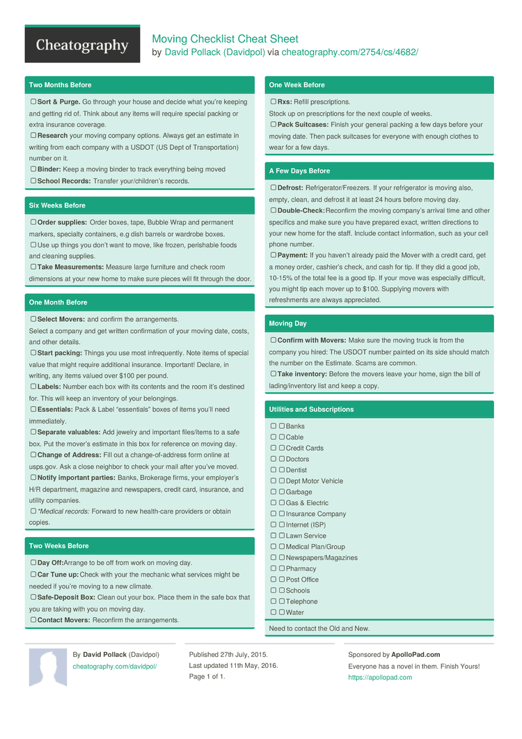 Moving Checklist Cheat Sheet by Davidpol Download free from – Moving Checklist