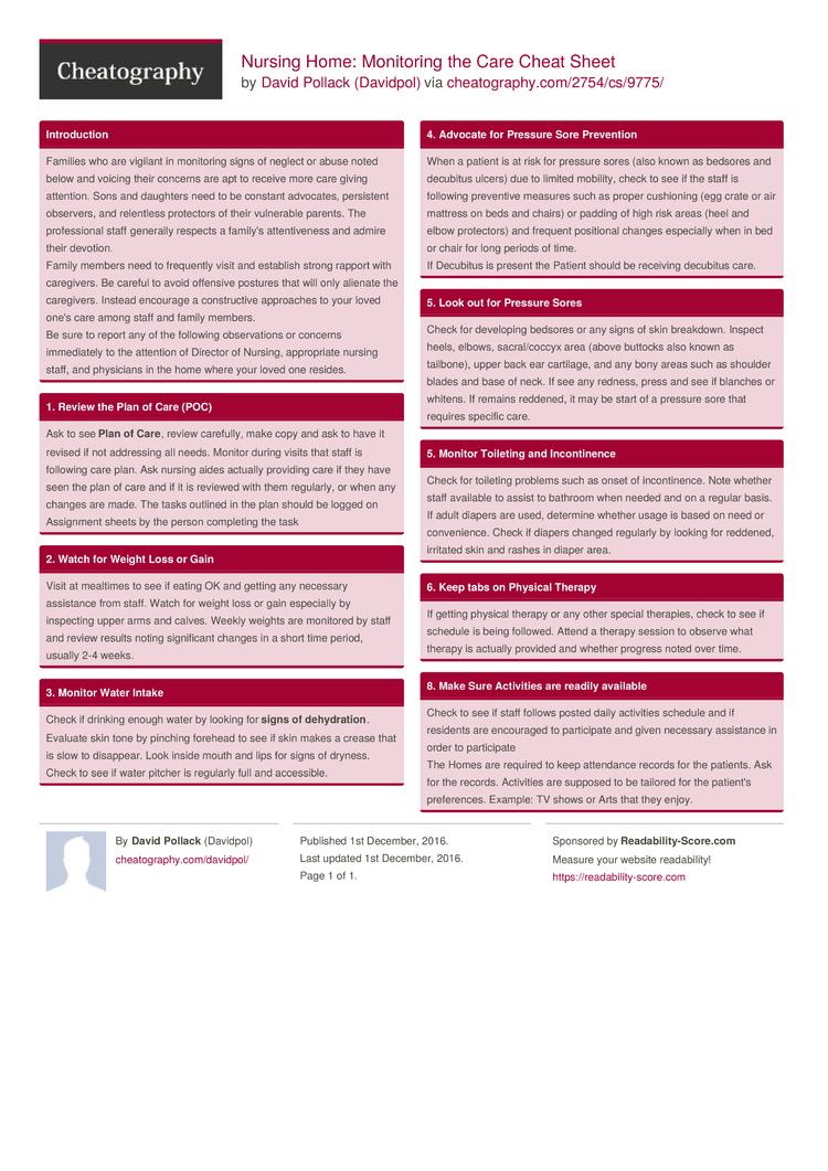 nursing home  monitoring the care cheat sheet by davidpol
