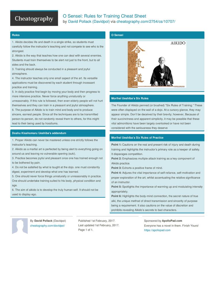O Sensei: Rules for Training Cheat Sheet by Davidpol - Download free ...