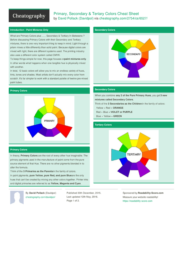 Primary Secondary Amp Teriary Colors Cheat Sheet By Davidpol Cheatography Com Cheat Sheets For