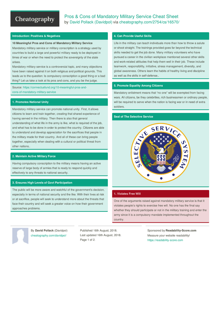 Pros & Cons of Mandatory Military Service Cheat Sheet by Davidpol -  Download free from Cheatography - Cheatography.com: Cheat Sheets For Every  Occasion