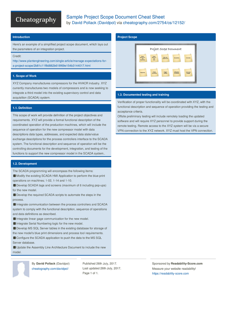 Sample Project Scope Document Cheat Sheet by Davidpol - Download ...