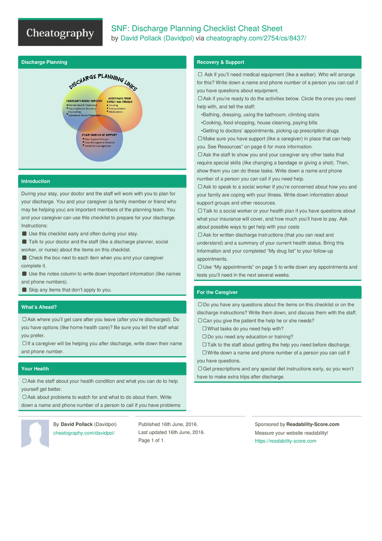 snf discharge planning checklist cheat sheet by davidpol download free from cheatography. Black Bedroom Furniture Sets. Home Design Ideas