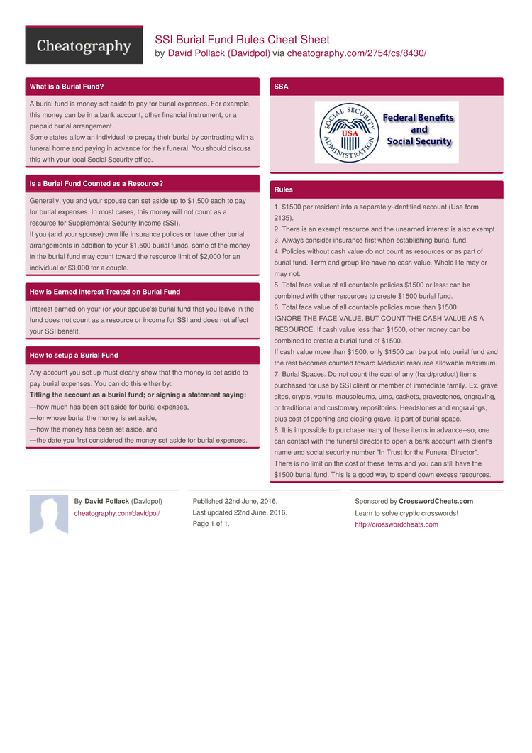 Ssi Burial Fund Rules Cheat Sheet By Davidpol Download Free From