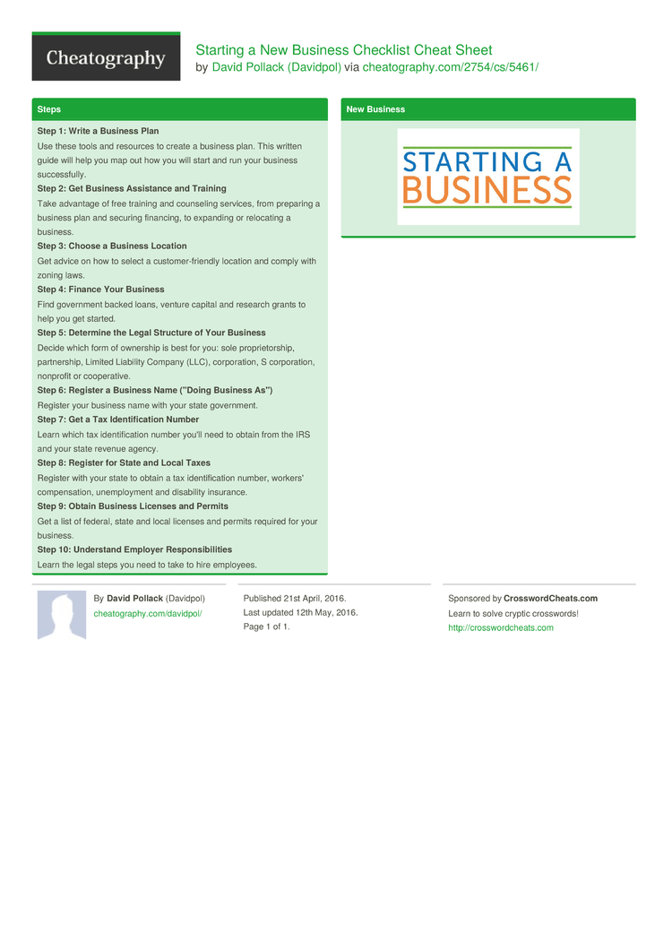 starting a new business checklist cheat sheet by davidpol download