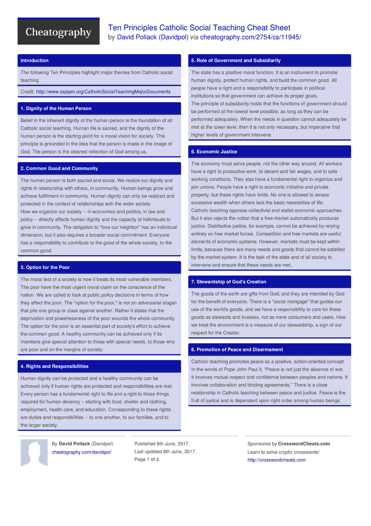 Ten Principles Catholic Social Teaching Cheat Sheet by Davidpol ...