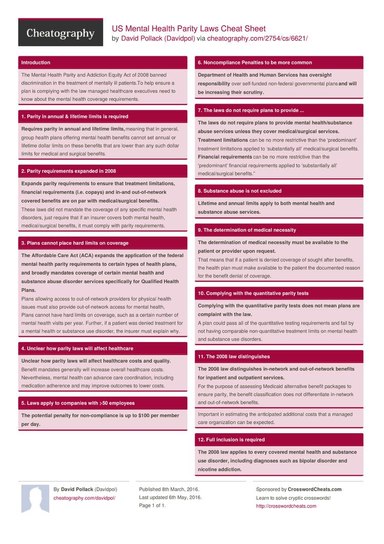 Us Mental Health Parity Laws Cheat Sheet By Davidpol Download Free