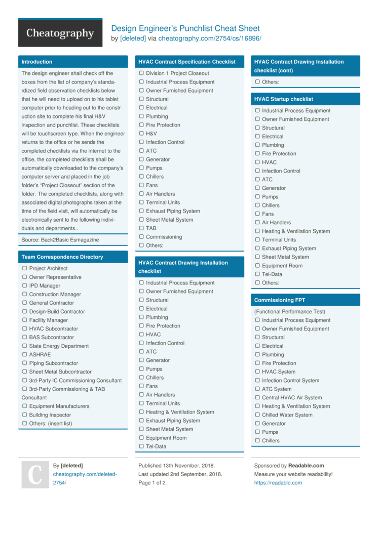 Design Engineer S Punchlist Cheat Sheet By Deleted Download Free From Cheatography Cheatography Com Cheat Sheets For Every Occasion