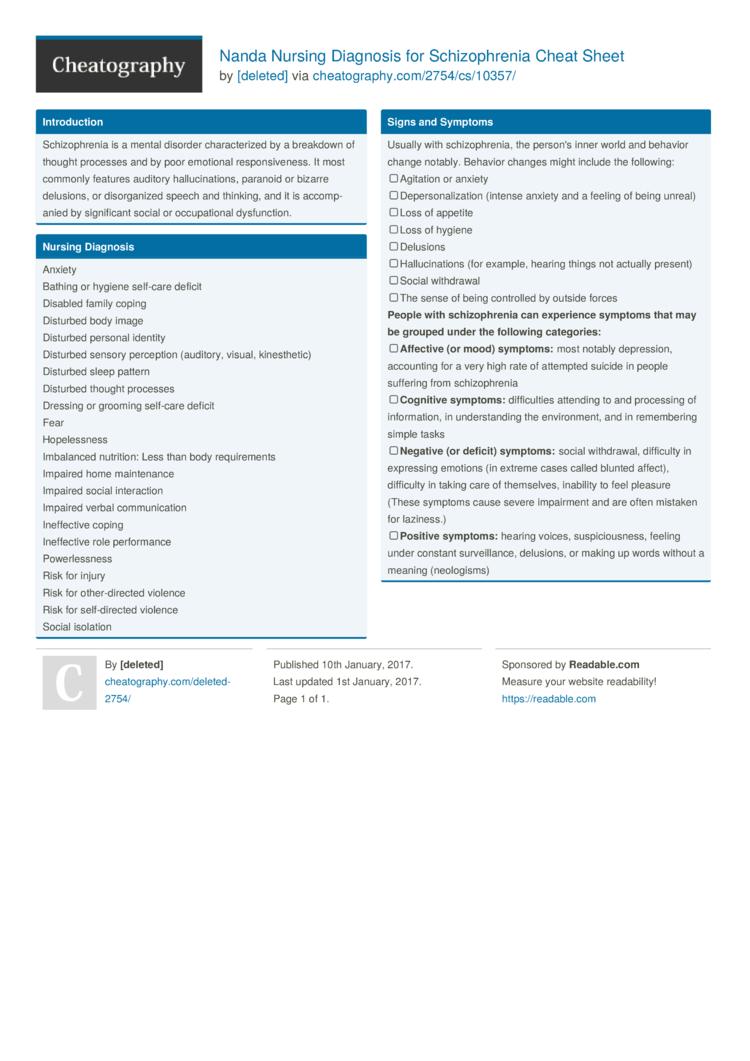 Nanda Nursing Diagnosis for Schizophrenia Cheat Sheet by ...