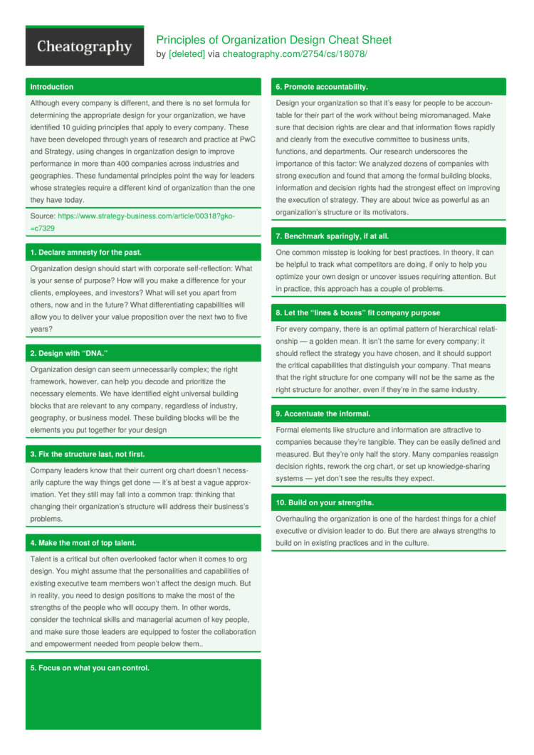 Principles Of Organization Design Cheat Sheet By Deleted Download Free From Cheatography Cheatography Com Cheat Sheets For Every Occasion