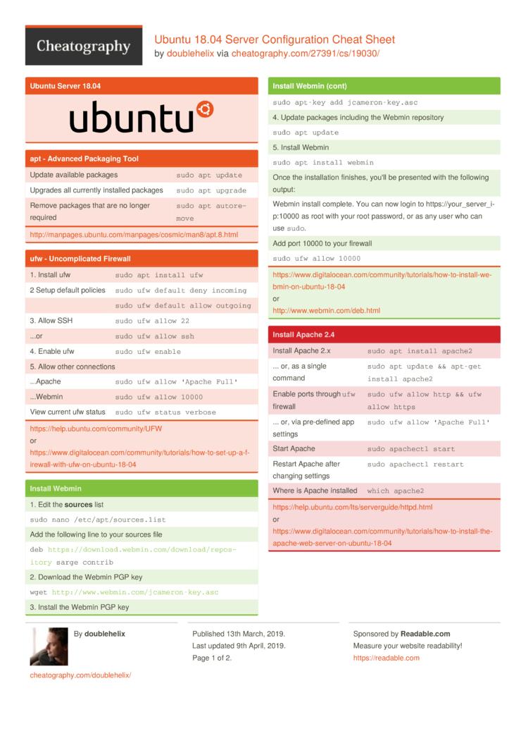 Ubuntu 18 04 Server Configuration Cheat Sheet by doublehelix