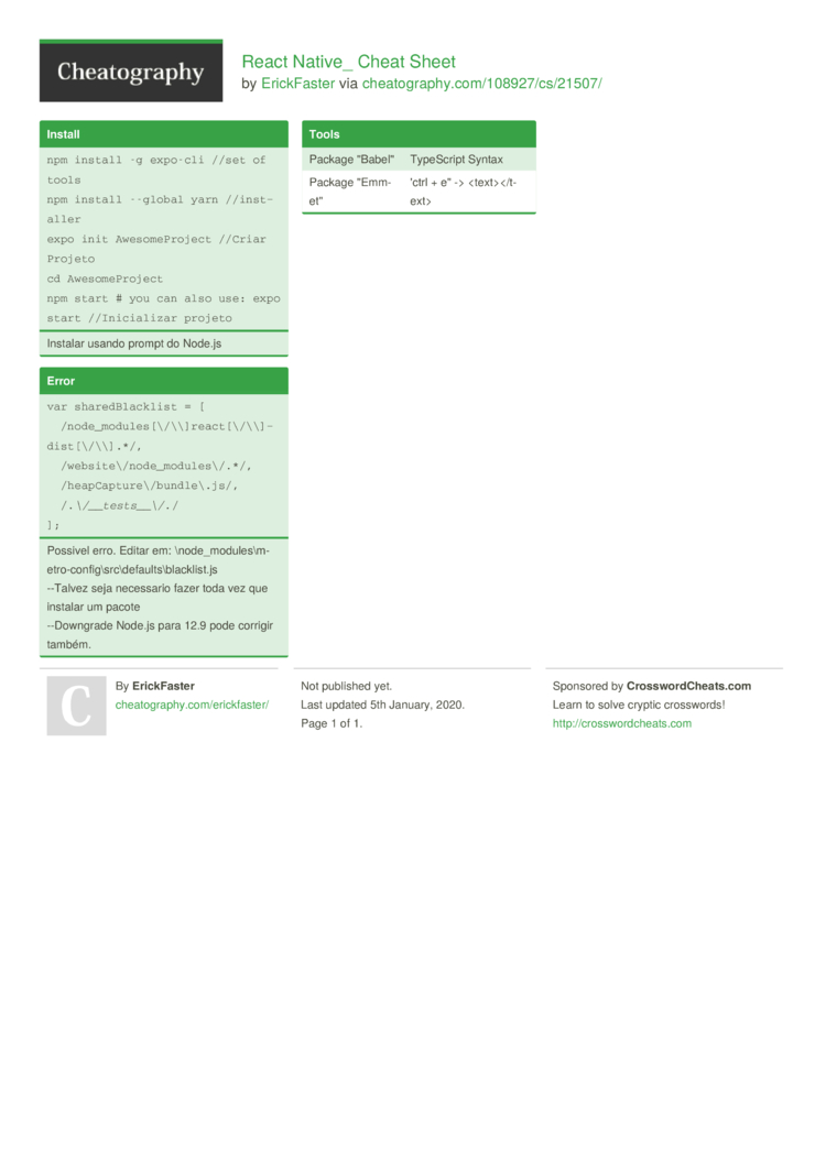 React Native  Cheat Sheet by ErickFaster   Download free from ...