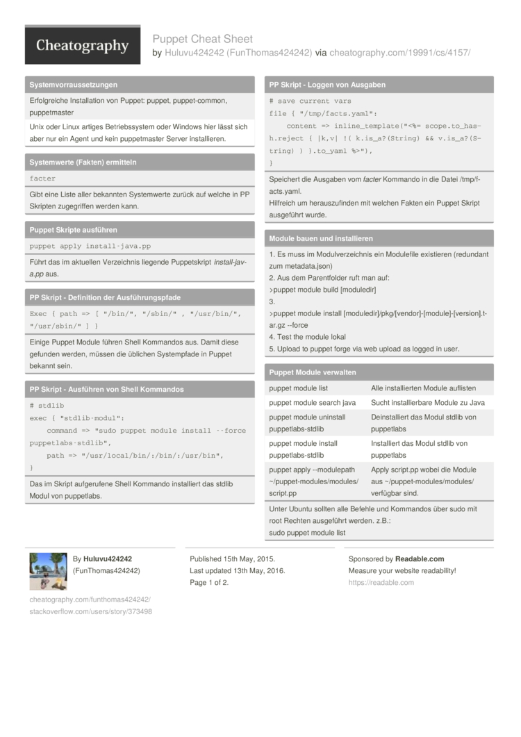 Puppet Cheat Sheet by FunThomas424242 - Download free from