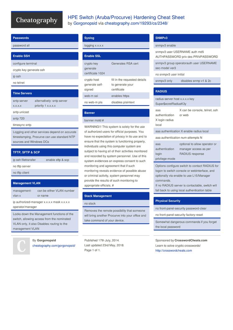 HPE Switch (Aruba/Procurve) Hardening Cheat Sheet by Gorgonopsid