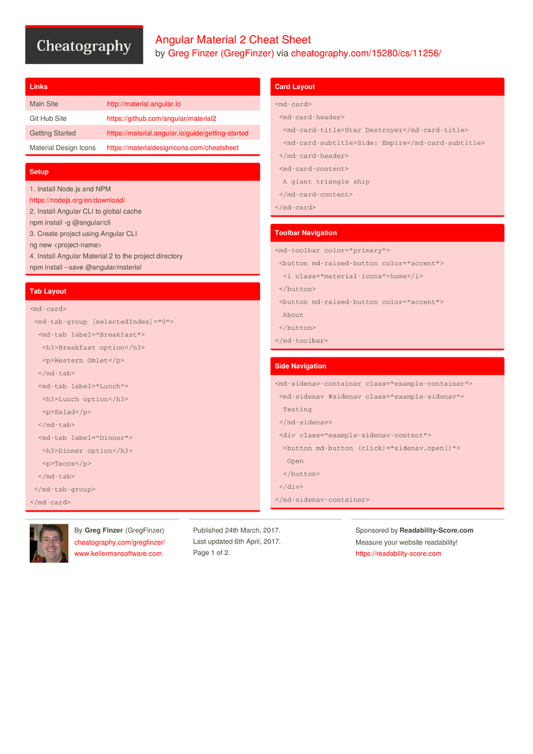 Angular Material 2 Cheat Sheet by GregFinzer - Download free from