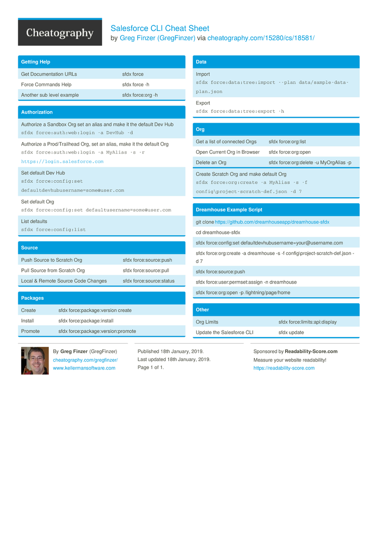 Salesforce CLI Cheat Sheet by GregFinzer - Download free